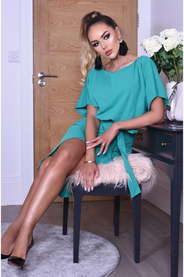 Rochie de seara verde cu cordon in talie