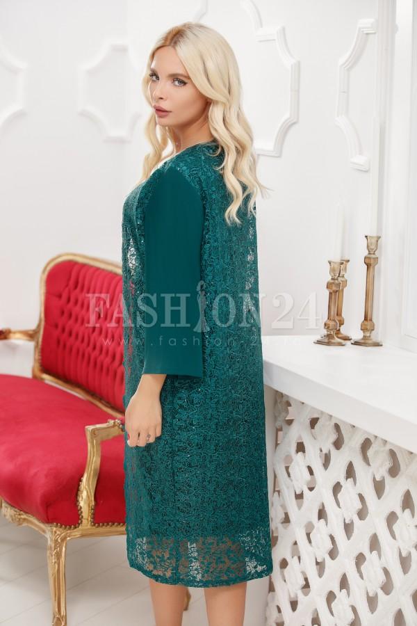 Rochie cu broderie in nuante de verde