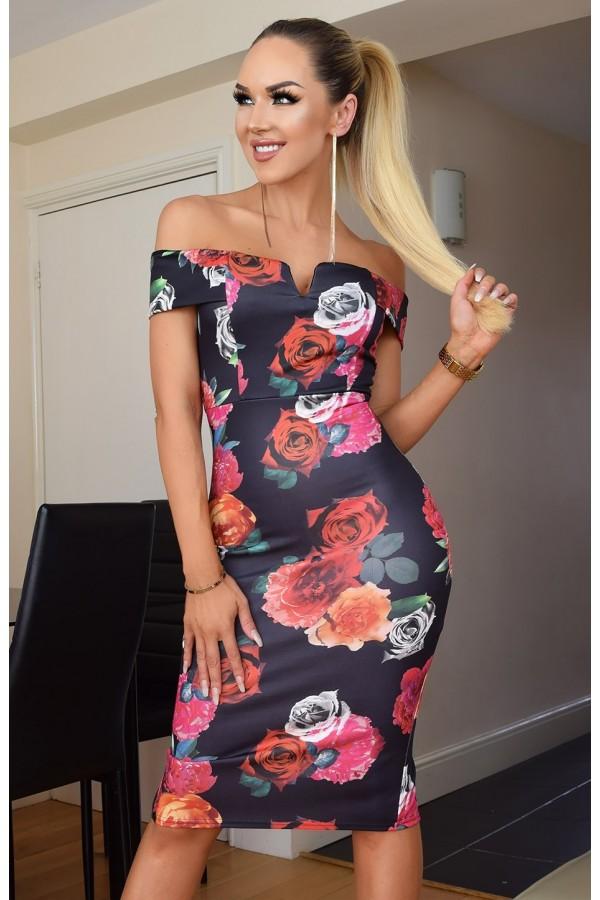 Rochie de seara mulata pe corp cu imprimeuri florale elegante