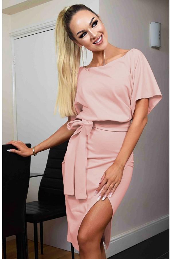 Rochie de seara roz prafuit cu cordon in talie