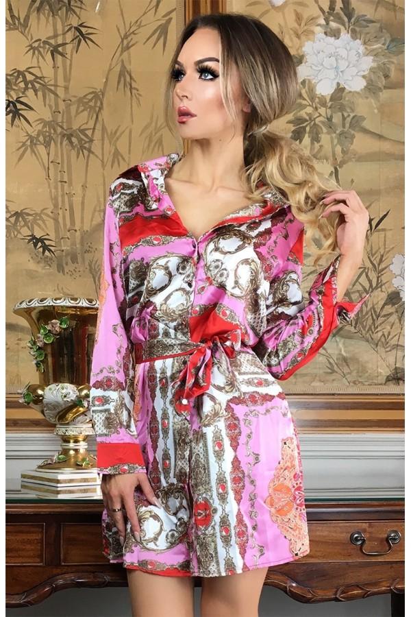 Rochie de vara in nuante de roz cu imprimeuri