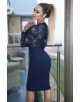 Rochie de ocazie bleumarin eleganta cu dantela