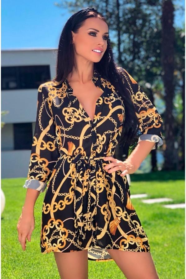 Rochie de vara in nuante de negru cu imprimeuri