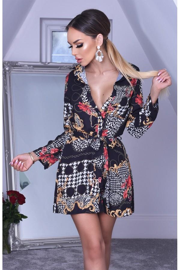 Rochie de vara in nuante de rosu si negru cu imprimeuri