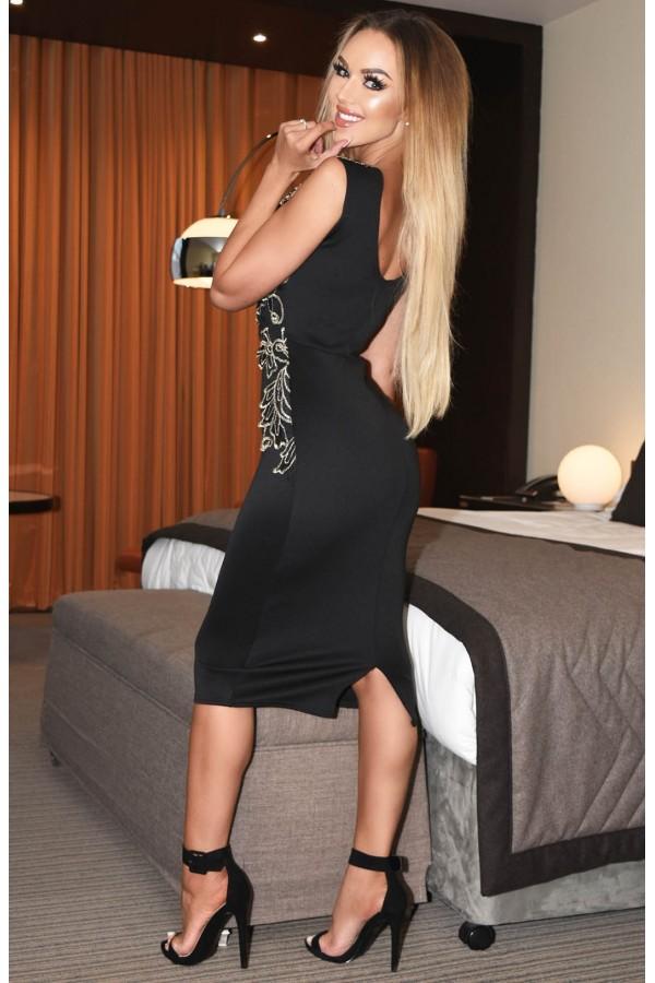 Rochie midi in nuante de negru cu dantela