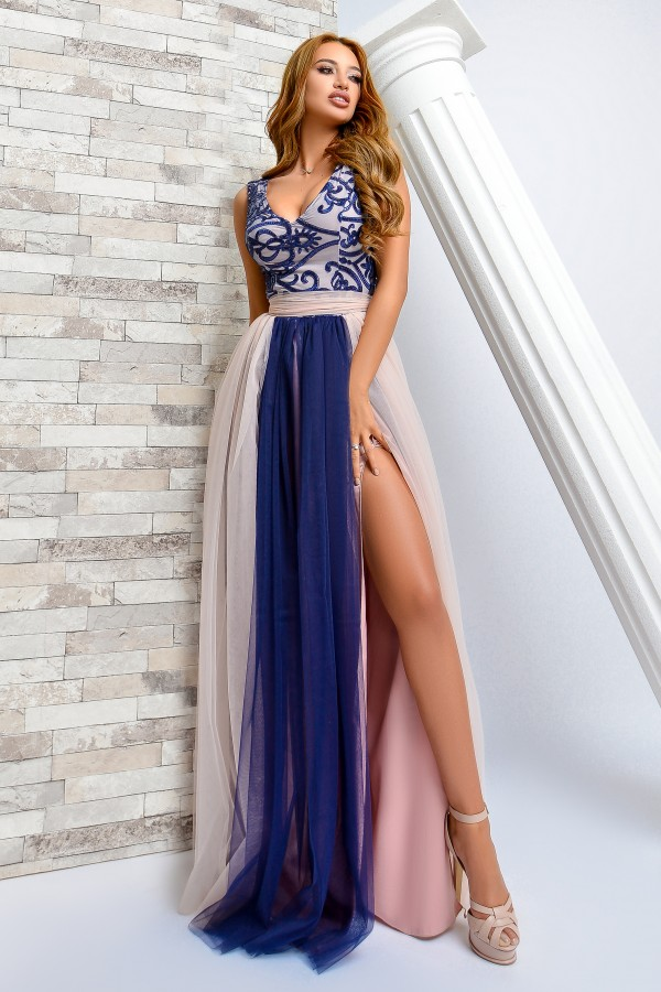 Rochie bleumarin si roze cu tul