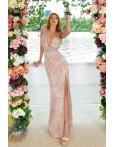 Rochie lunga in nuante de rose eleganta