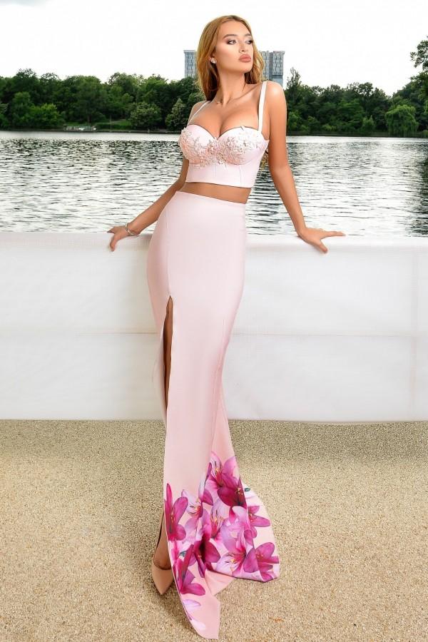 Rochie de seara roz in doua piese