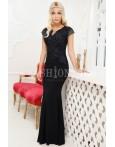 Rochie lunga negru cu broderie din dantela
