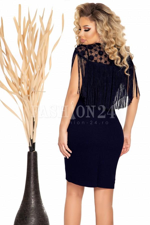 Rochie Luisa albastru cu negru in clos