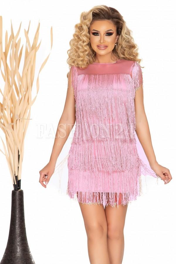 Rochie de seara roze cu franjuri in 3 straturi