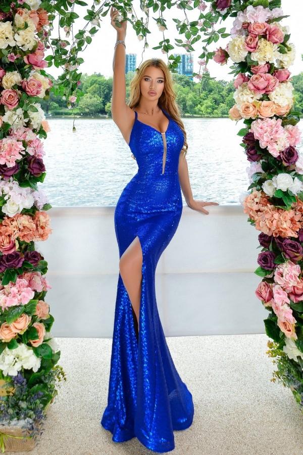 Rochie lunga stil sirena albastra