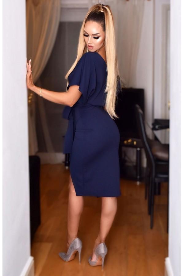 Rochie eleganta in nuante de bleumarin cu fundita