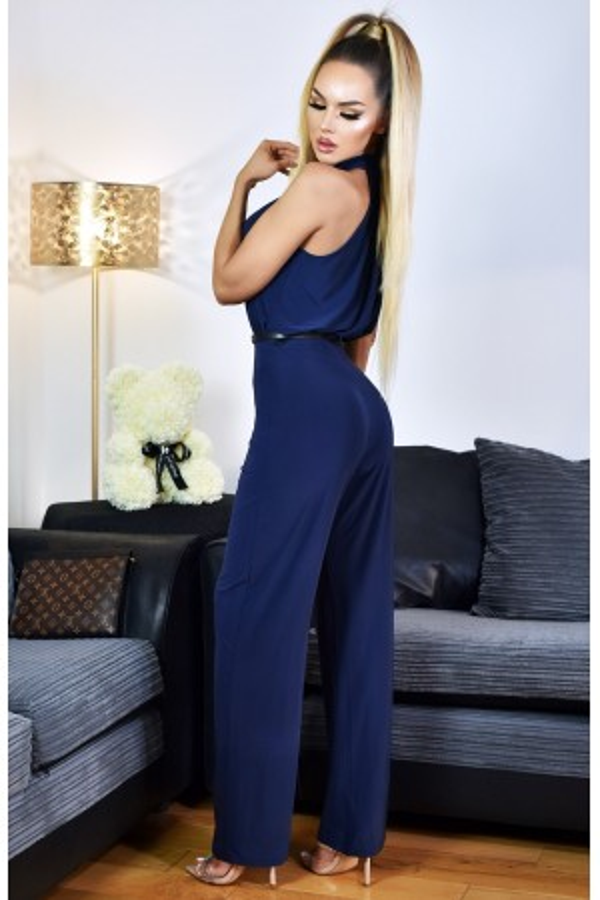 Salopeta bleumarin eleganta de seara cu accesoriu in talie