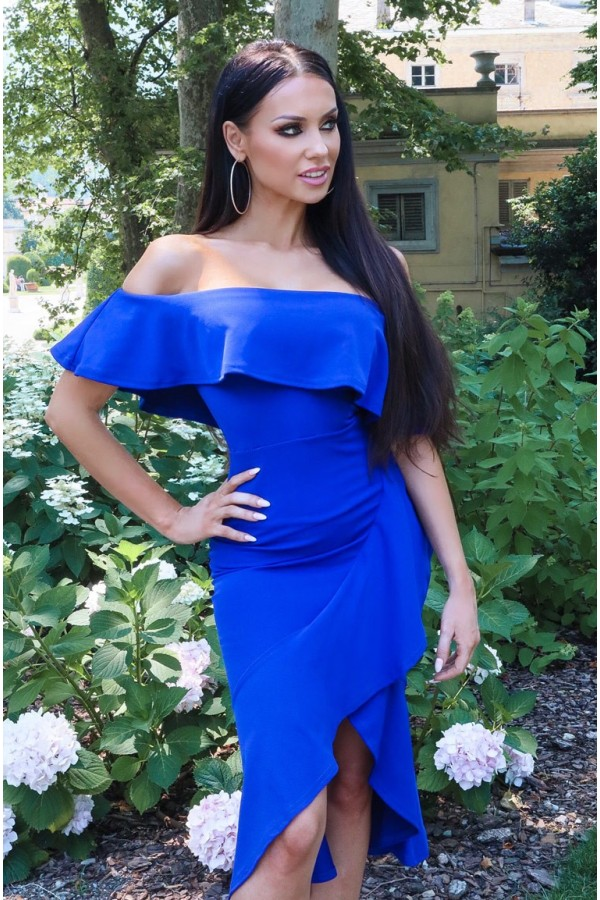 Rochie albastru royal cu volanase si umerii goi
