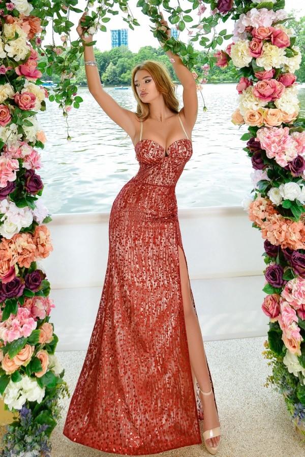 Rochie Lunga In Nuante De Rosu Eleganta