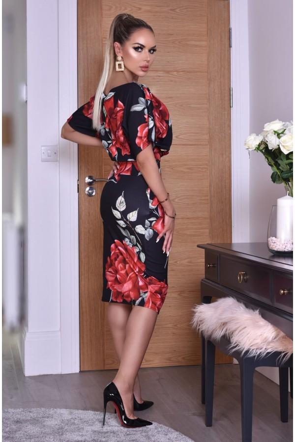Rochie eleganta cu imprimeuri florale in nuante de negru