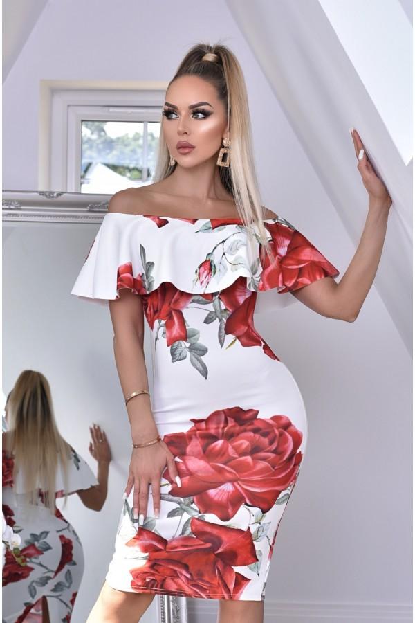 Rochie alba cu imprimeuri florale si umerii lasati