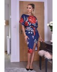 Rochie eleganta cu imprimeuri florale in nuante de bleumarin
