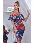 Rochie bleumarin cu imprimeuri florale si umerii lasati