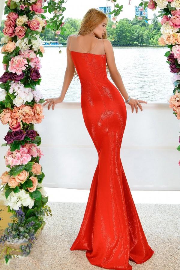 Rochie tip sirena in nuante de rosu regal