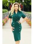 Rochie verde accesorizata cu nasturi