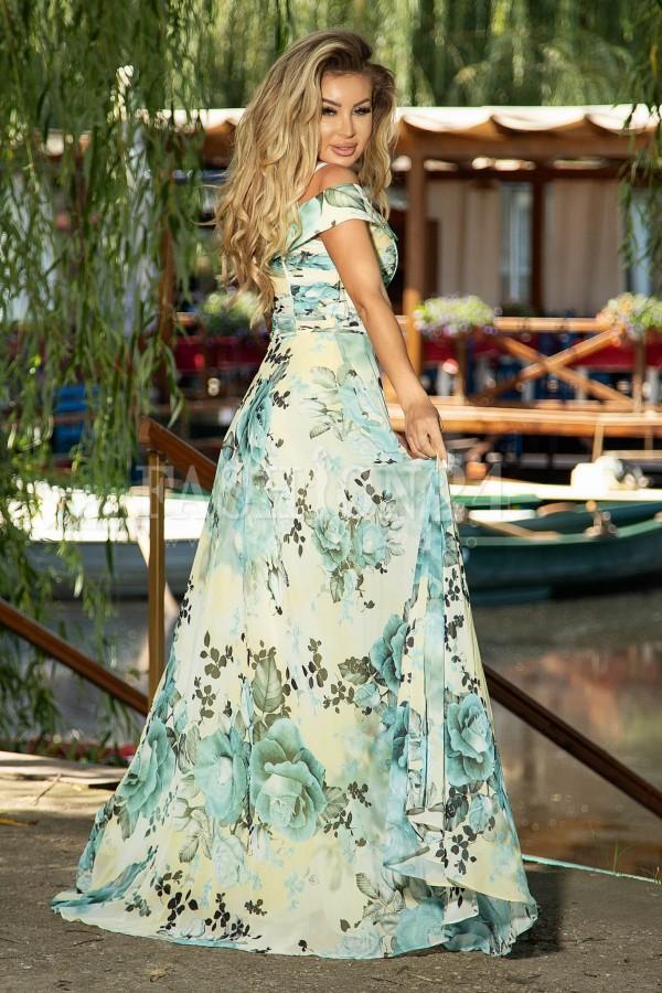 Rochie de ocazie lunga in nuante de galbenmcu imprimeu floral