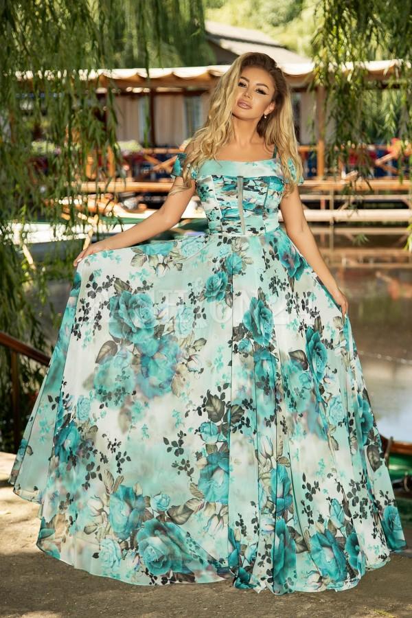 Rochie de ocazie lunga in nuante de albastra cu imprimeu floral