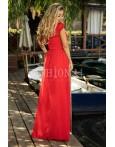 Rochie lunga rosie cu broderie si aplicatii
