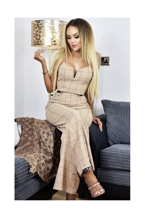 Salopeta Eleganta De Seara Bej Cu Model In Dungi