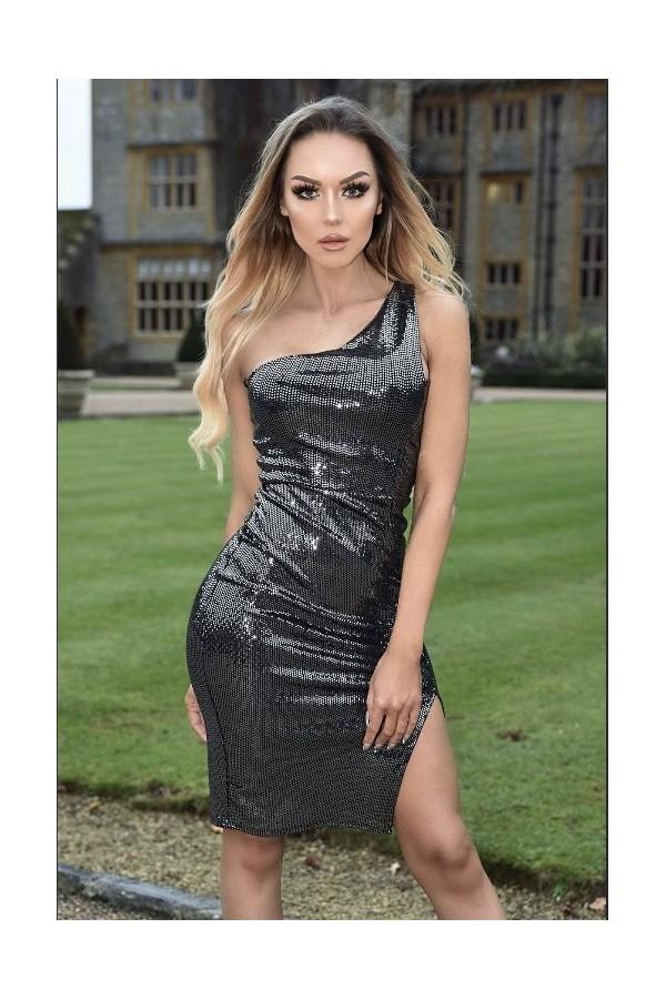 Rochie de ocazie lucioasa in nuante de negru