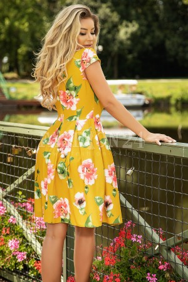 Rochie Raisa mustar eleganta cu flori