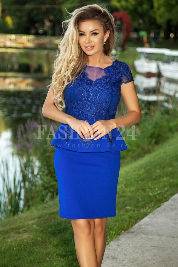Rochie Miria albastra cu peplum in talie