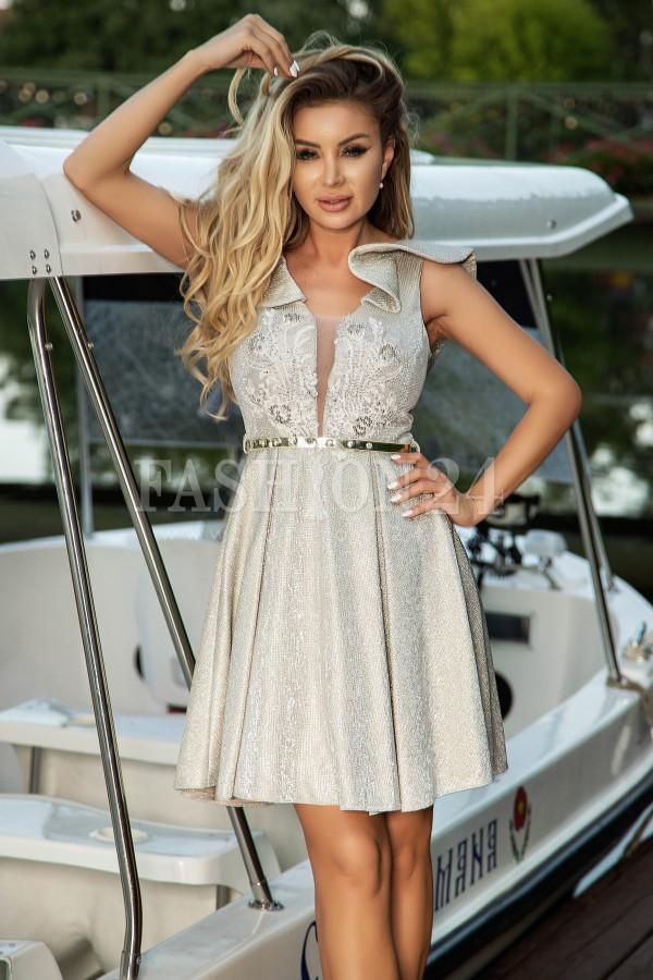 Rochie eleganta de seara in nuante de bej