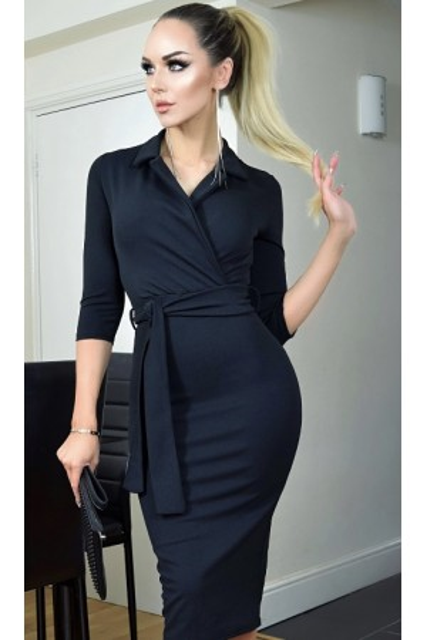 Rochie deosebita in nuante de negru cu manecile lungi