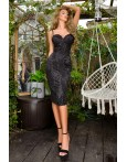 Rochie de seara neagra conica cu design