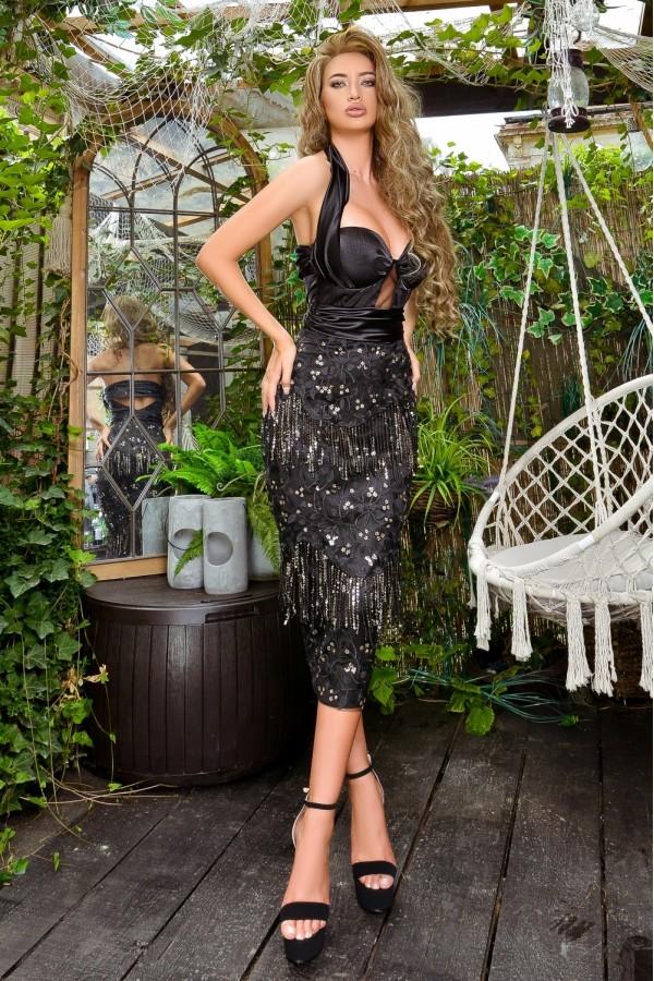 Rochie de seara conica neagra cu franjuri