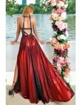 Rochie lunga in nuante de rosu