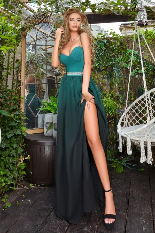 Rochie de seara lunga verde in degrade