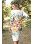 Rochie alba cu imprimeu floral deosebit
