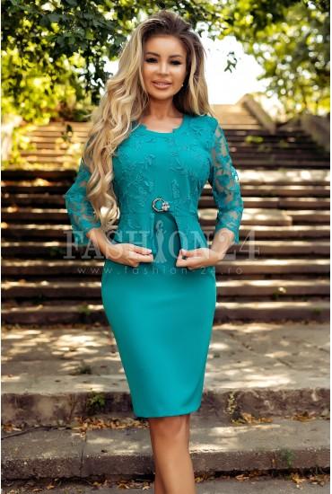 Rochie turcoaz cu accesoriu in talie