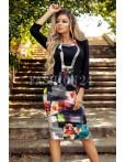Rochie neagra cu imprimeuri multicolore