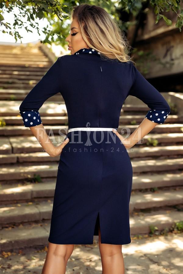 Rochie bleumarin cu buline albe