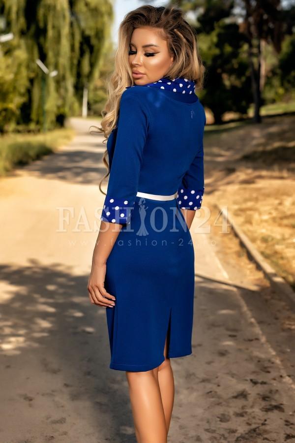 Rochie albastra cu buline albe