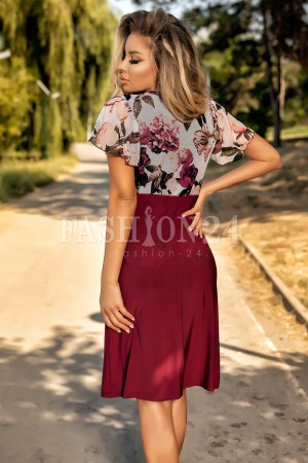 Rochie in clos bordo cu imprimeuri florale