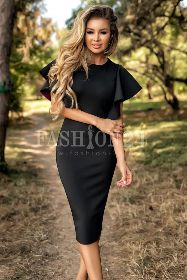 Rochie de seara eleganta in nuante de negru cu volane