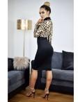 Rochie eleganta cu manecile lungi si imprimeu leopard
