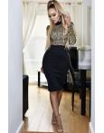 Rochie eleganta cu manecile lungi si imprimeu in dungi