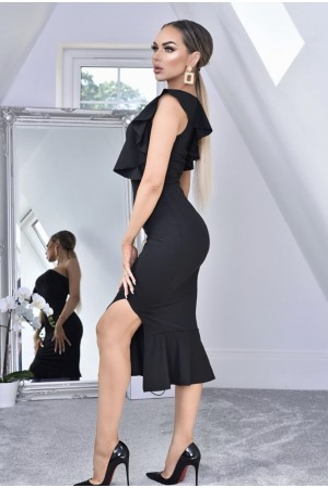 Rochie mulata pe corp in nuante de negru cu volanase