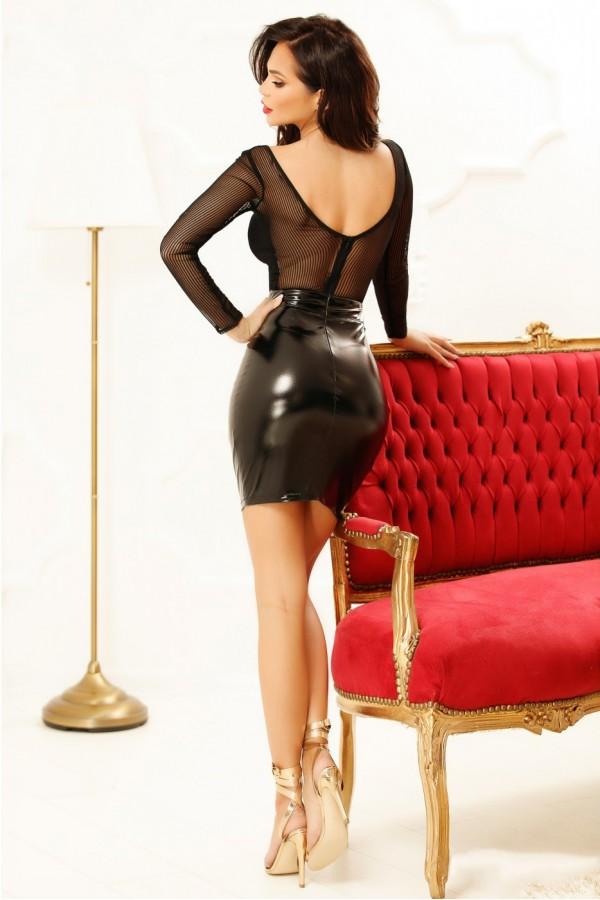Rochie neagra cu piele ecologica si tul